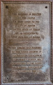 Plaque at Austin History Center recognizing the Austin AAUW for the founding of the Austin Public Library.